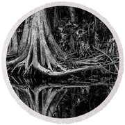 Cypress Roots - Bw Round Beach Towel