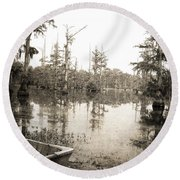 Cypress Swamp Round Beach Towel