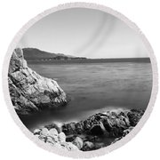 Cypress Tree At The Coast, The Lone Round Beach Towel