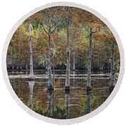 Cypress Tree Fall Reflections Round Beach Towel