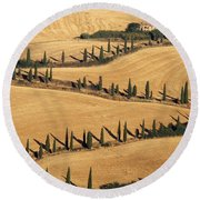 Cypress Tree Lined Road Round Beach Towel