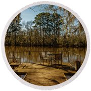 Cypress Trees At Caddo Lake State Park Round Beach Towel