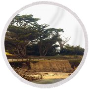 Cypress Trees On 17 Mile Drive Round Beach Towel