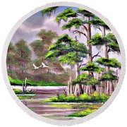 Cypress Trees-wakulla River Florida Round Beach Towel