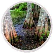 Cypress Waltz Round Beach Towel by Karen Wiles