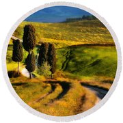 Cypresses Of Toscany Round Beach Towel