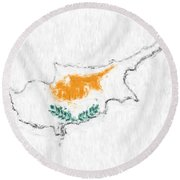 Cyprus Painted Flag Map Round Beach Towel