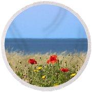 Cyprus Poppies Round Beach Towel