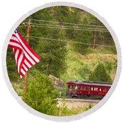 Cyrus K. Holliday Rail Car And Usa Flag Round Beach Towel