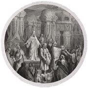 Cyrus Restoring The Vessels Of The Temple Round Beach Towel by Gustave Dore