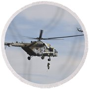Czech Air Force Mi-171 Hips Training Round Beach Towel