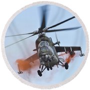 Czech Air Force Mi-35 Hind Helicopter Round Beach Towel
