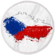 Czech Republic Painted Flag Map Round Beach Towel