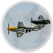 D-day Airshow Duo Spitfire And Mustang Round Beach Towel