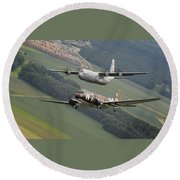 D Day Past And Present Round Beach Towel