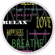 D I Y Anxiety Therapy Round Beach Towel