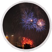 D21l163 Red White And Boom Photo Round Beach Towel