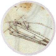 Da Vinci Flying Machine 1485 Round Beach Towel