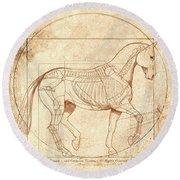 da Vinci Horse in Piaffe Round Beach Towel