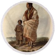 Dacota Woman And Assiniboin Girl Round Beach Towel