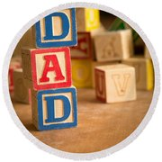 Dad - Alphabet Blocks Fathers Day Round Beach Towel