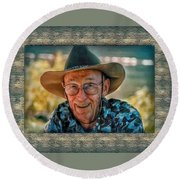 Dad In Cowboy Mood Round Beach Towel