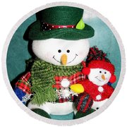 Daddy And Baby Snowmen Decorations Round Beach Towel