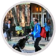 Daddy Pushing Stroller Greenwich Village Round Beach Towel