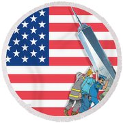 Daddys Home 9/11 Tribute Round Beach Towel