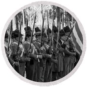 American Soldiers At Muster 1835 Round Beach Towel