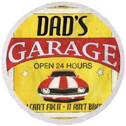 Dad's Garage Round Beach Towel by Debbie DeWitt