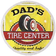 Dad's Tire Center Round Beach Towel by Debbie DeWitt