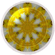 Daffodil And Easter Lily Kaleidoscope Under Glass Round Beach Towel