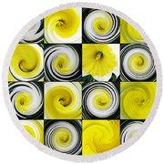 Daffodil Spring Mosaic Round Beach Towel