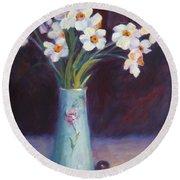 Daffodils And Cherries Round Beach Towel