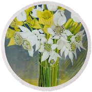 Daffodils And White Tulips In An Octagonal Glass Vase Round Beach Towel