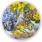 Daffodils Antique Jugs Plates Textiles And Lace Round Beach Towel