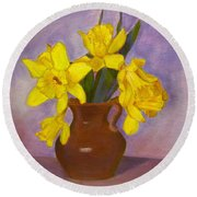 Yellow Daffodils On Purple Round Beach Towel