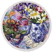 Daffodils Tulips And Iris In A Jacobean Blue And White Jug With Sanderson Fabric And Primroses Round Beach Towel