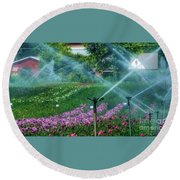 Dahlia Field Farm Scene Round Beach Towel