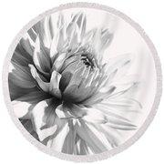 Dahlia Flower In Monochrome Round Beach Towel