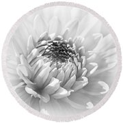 Dahlia Flower Soft Monochrome Round Beach Towel
