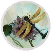 Dahlia With Dragonfly Resting Round Beach Towel