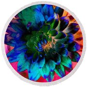 Dahlia With Textures Round Beach Towel