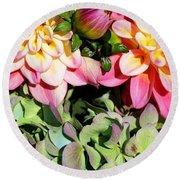 Dahlias And Hydrangeas Bouquet Round Beach Towel