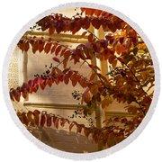Dainty Branches - Warm Autumn Colors - Washington D C Facades Round Beach Towel