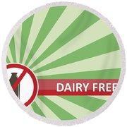 Dairy Free Banner Round Beach Towel