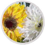 Daisies And Sunflowers - Impressionistic Round Beach Towel
