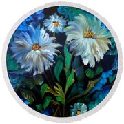 Daisies At Midnight Round Beach Towel