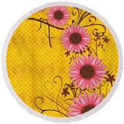 Daisies Design - S01y Round Beach Towel by Variance Collections